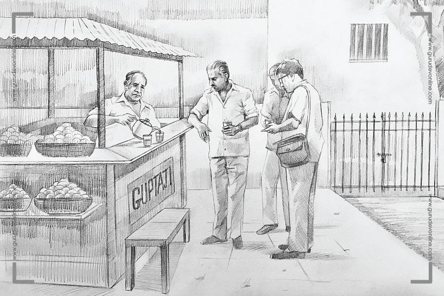 Gurudev at Gupta ji's tea and juice stall