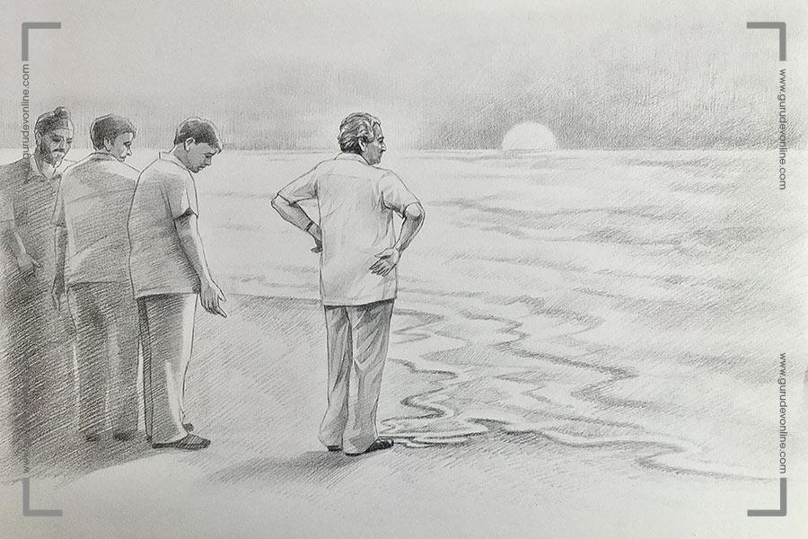 Gurudev at Juhu Beach