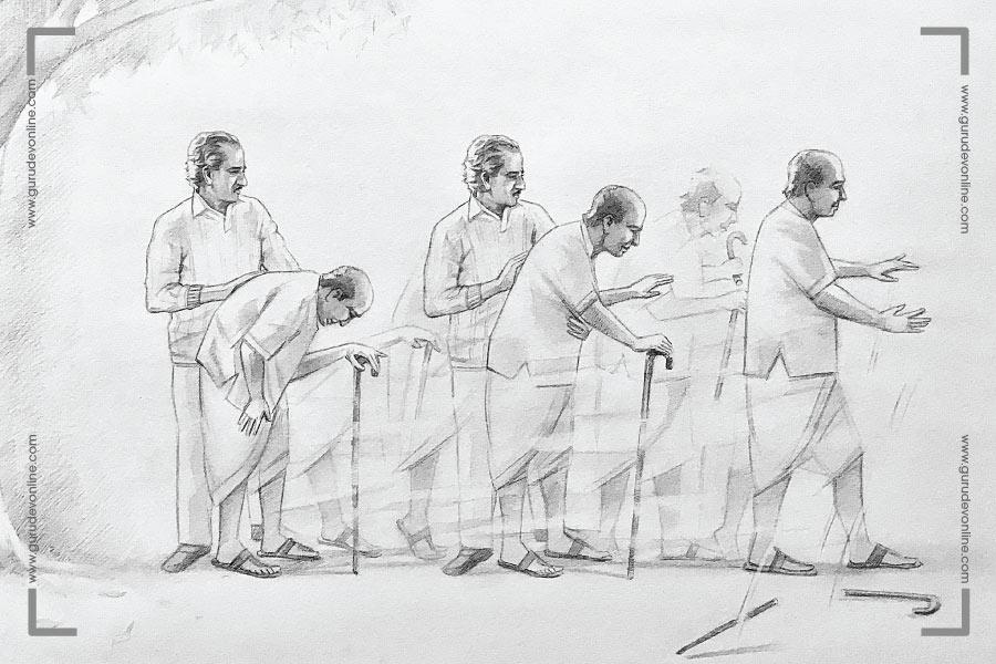 Gurudev healing a man at Kathog