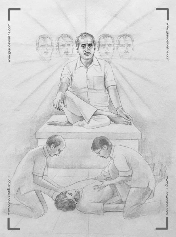Gurudev shows Shambhu ji his five headed form